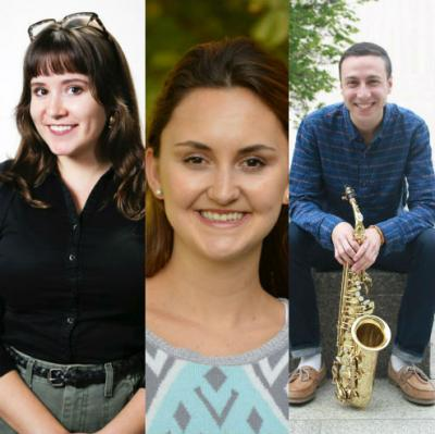 Three students who will be honored in the College of Fine Arts 2016 winter commencement