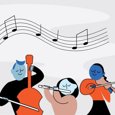 orchestra illustration by Moira Scrimgeour
