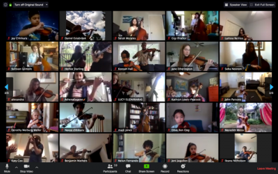 A grid of students playing their violins in a Zoom meeting.