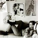 Jim Howard in 1964 surrounded by his fashion illustrations