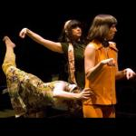 Three women on stage in the play, The Method Gun