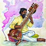 An illustration of a man playing a sitar.