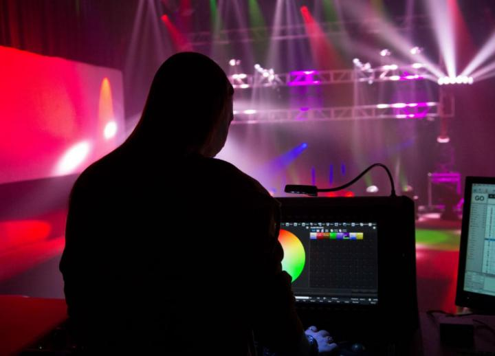 A student experiments with lighting design in the Bridging Disciplines Program in Digital Arts and Media