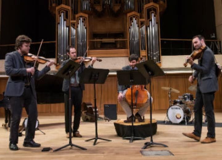 Invoke string quartet performs chamber music.