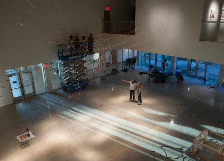 "The exhibition ""Placeholder"" is installed in the Visual Arts Center gallery."