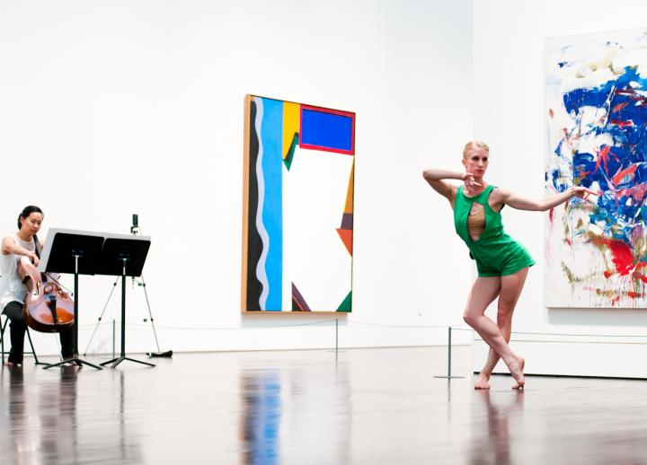 A dancer and cello player perform in the Blanton Museum galleries as part of the Midday Music Series.