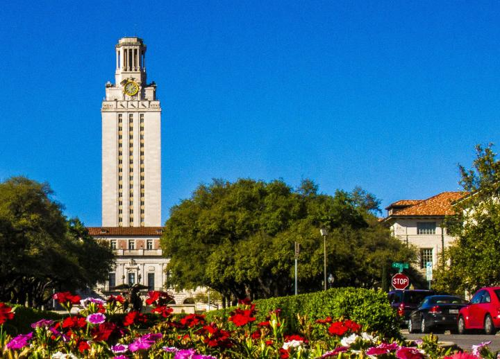 UT Tower with flowers