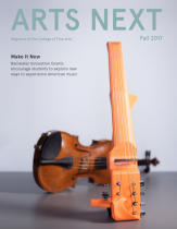 the cover of the magazine features a 3D printed violin in front of a classic violin