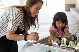 Art Education students work with children at the Blanton Museum of Art in 2015.