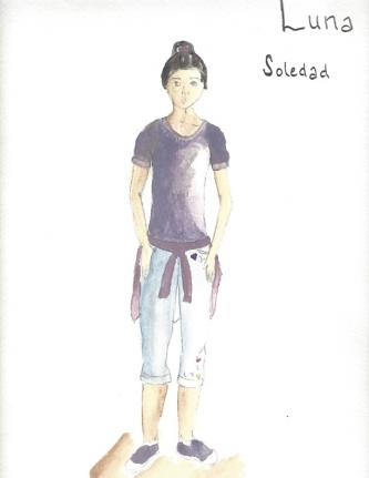 A costume sketch of the character Soledad in Luna